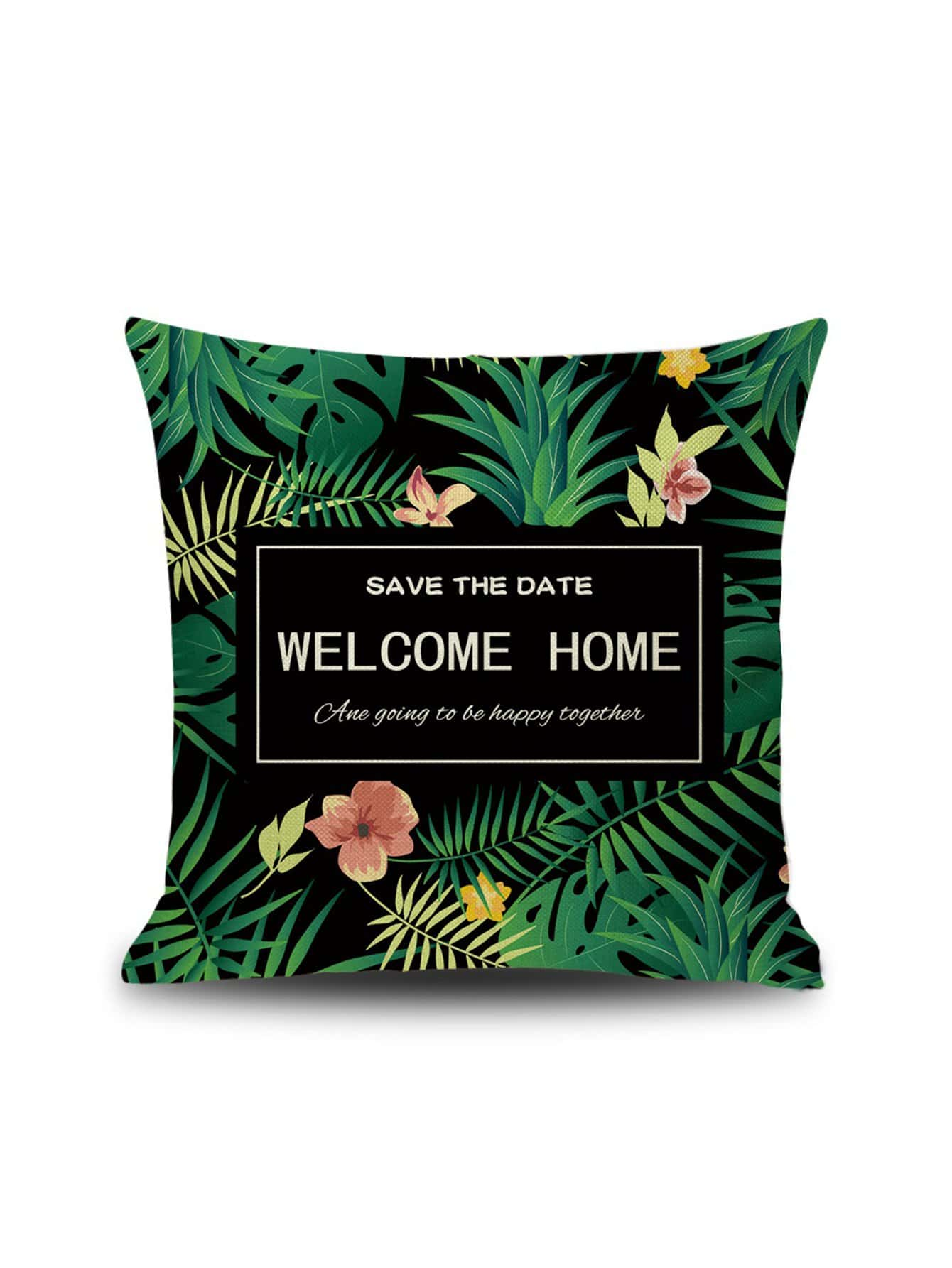 Tropical Leaf & Letter Print Pillowcase