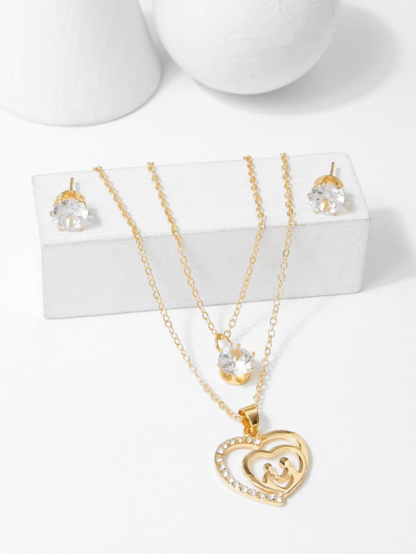 Купить Набор многослойного ожерелья с подвеской цветов и серьги, null, SheIn