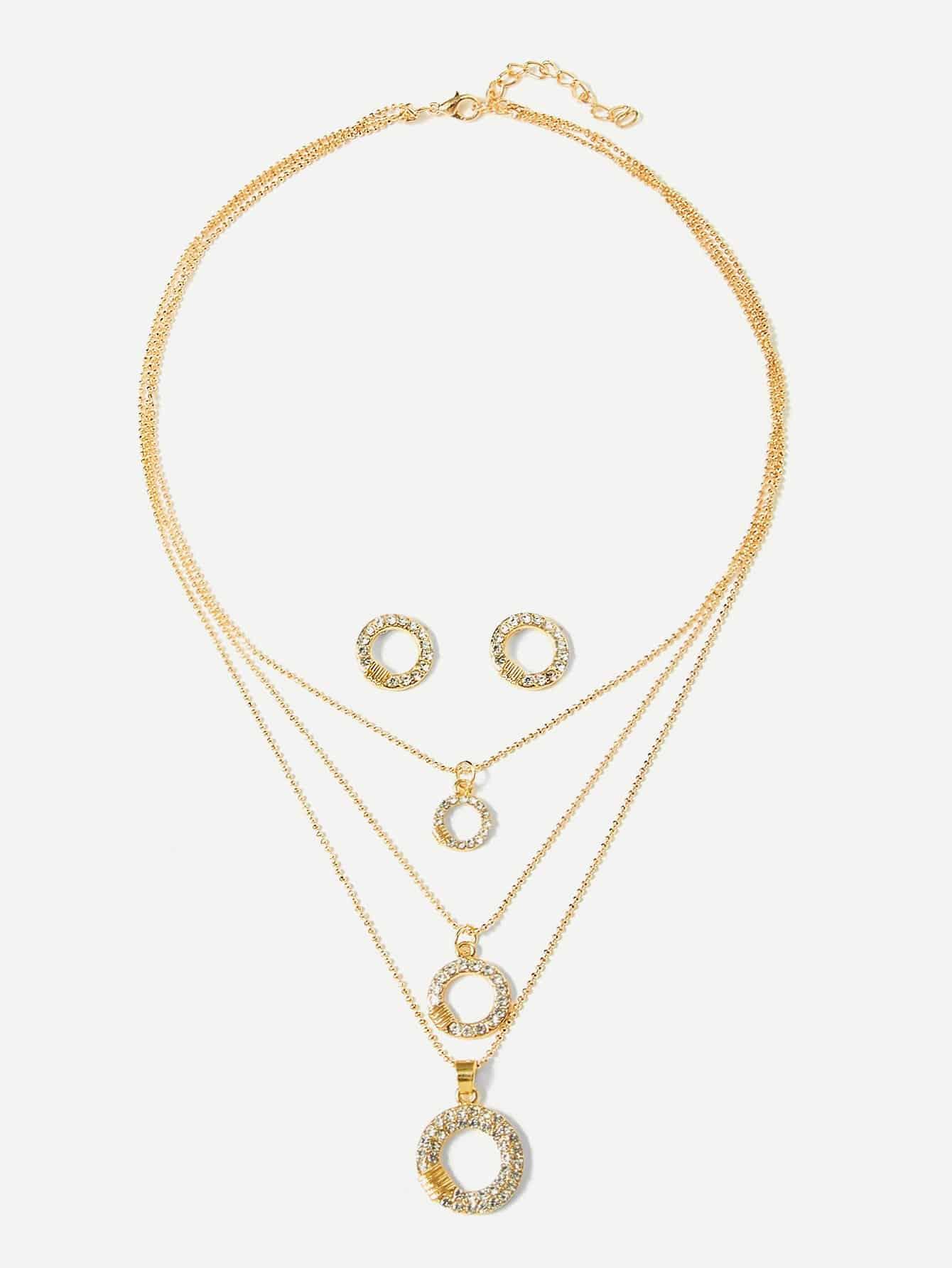 Купить Круг Слоистых Кулон Ожерелье & Серьги, null, SheIn
