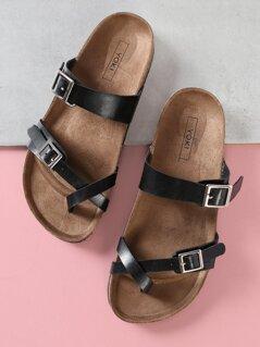 Cross Buckle Strap Cork Footbed Sandal