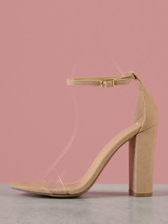 Clear Strap Chunky Heel