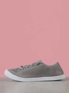 Mesh Knit Lace Up Low Top Sneaker