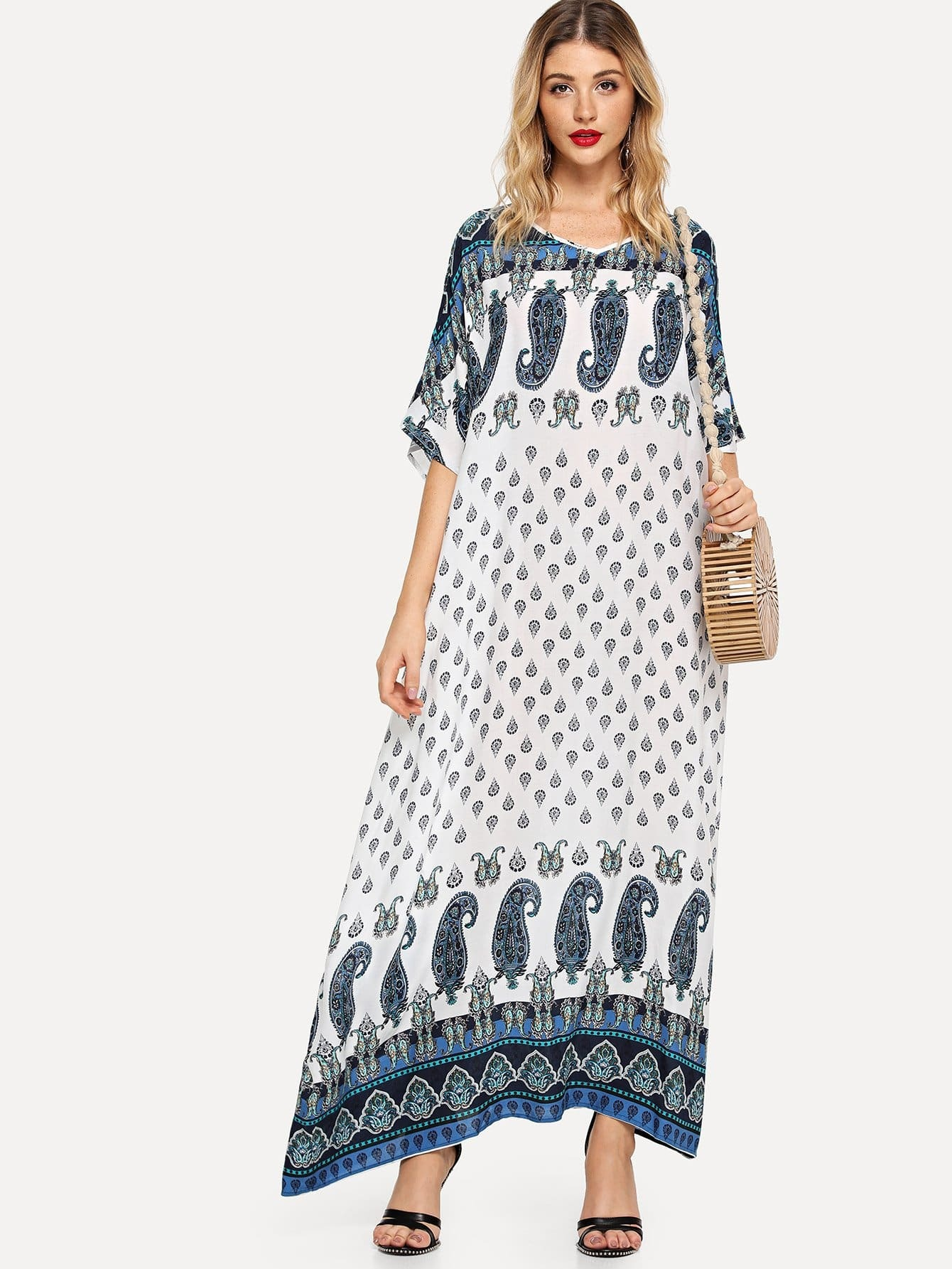 Купить Allover Paisley Версия для печати Batwing Sleeve Hijab Dress, Nathane, SheIn