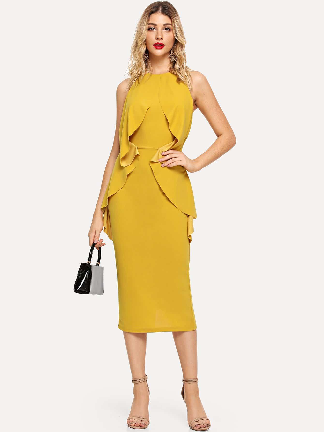 Купить Платье с надписью Ruffle Foldover Front Slit Hem, Nathane, SheIn