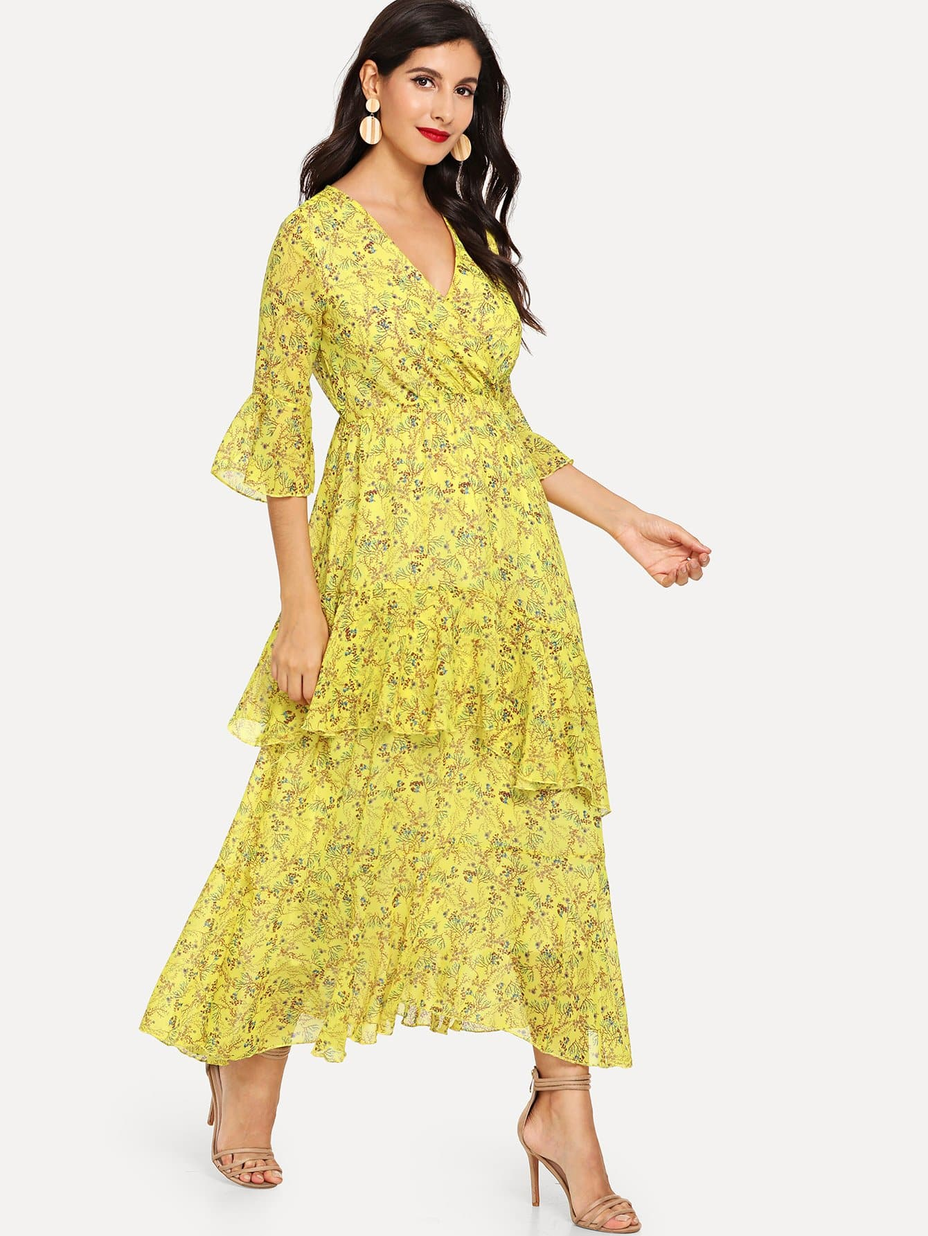 Floral Bell Sleeve Dress bohemian bell sleeve floral midi dress