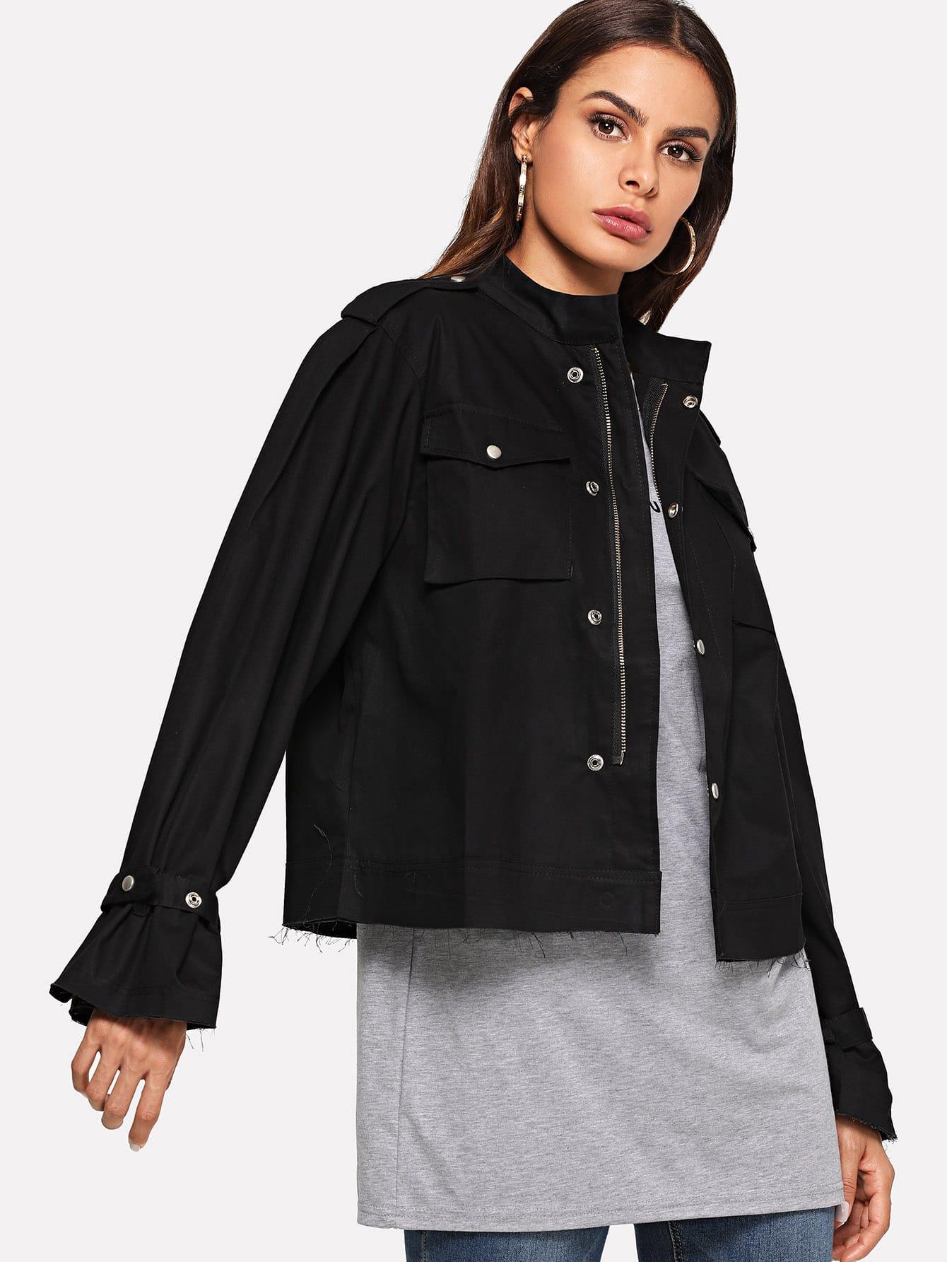 Купить Повседневный Одноцветный на молнии бомбардировщик Черный Жакеты + Куртки, Andy, SheIn
