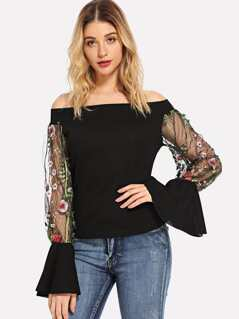 Embroidered Mesh Bell Sleeve Off Shoulder Top