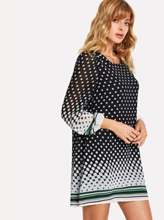 Polka Dot Print Striped Tunic Dress