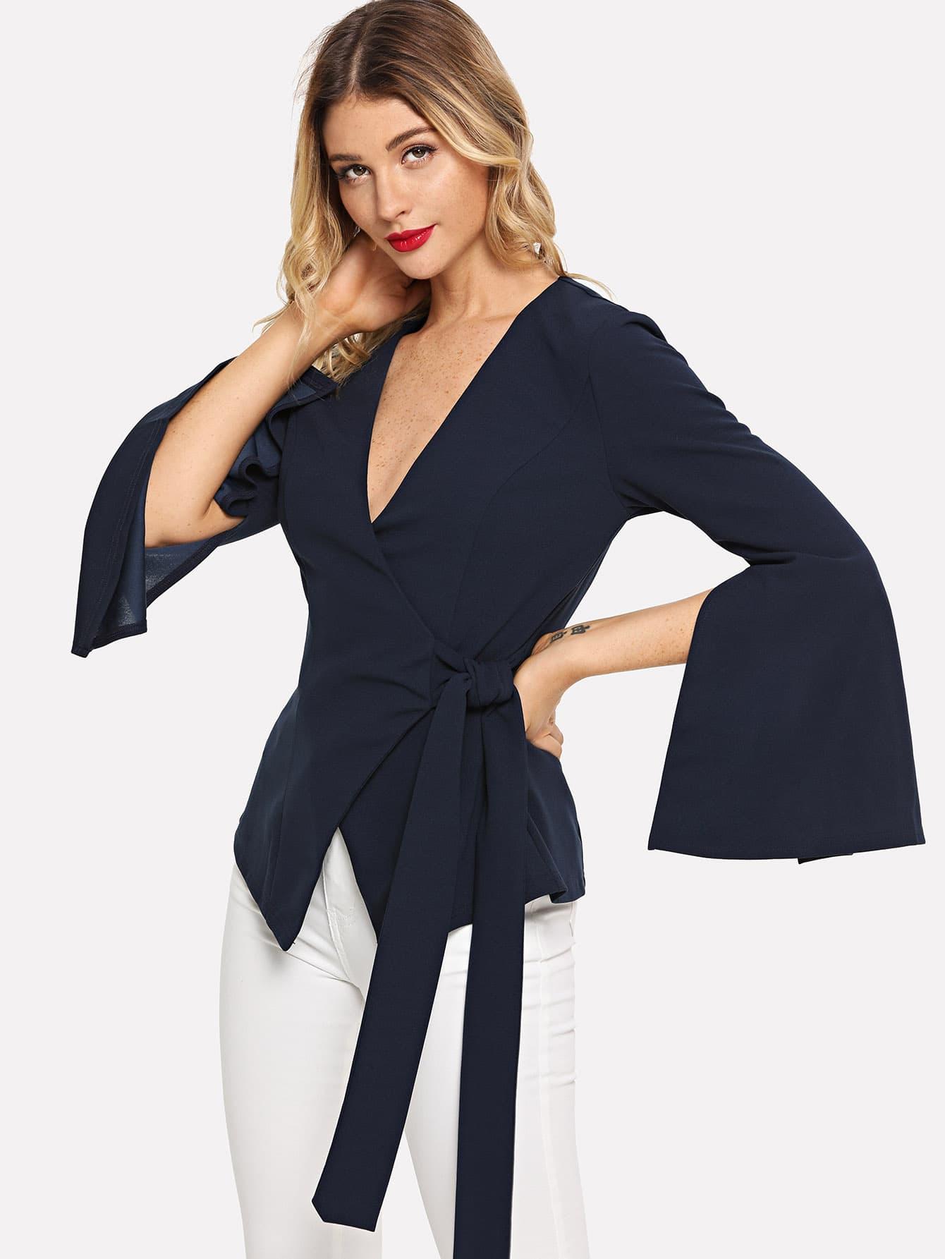 Купить Slit Sleeve Deep V Neck Wrap Coat, Nathane, SheIn