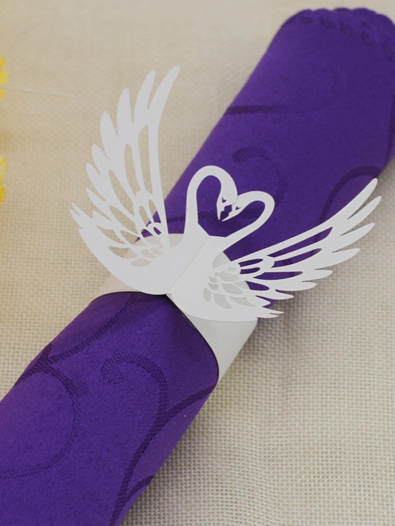 Купить Вырезная кольцо для бумаги и с украшением лебедя 25 шт, null, SheIn