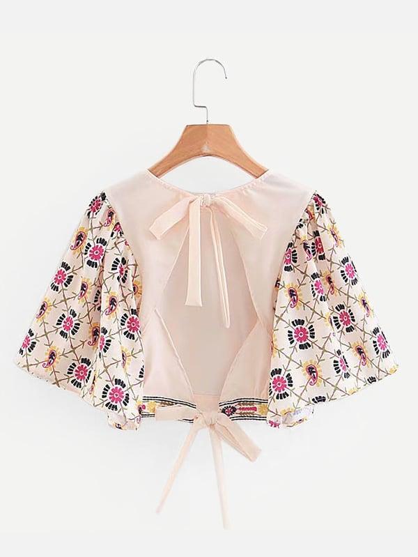 Flutter Sleeve Open Back Tie Detail Blouse elegant trumpet sleeve open back blouse