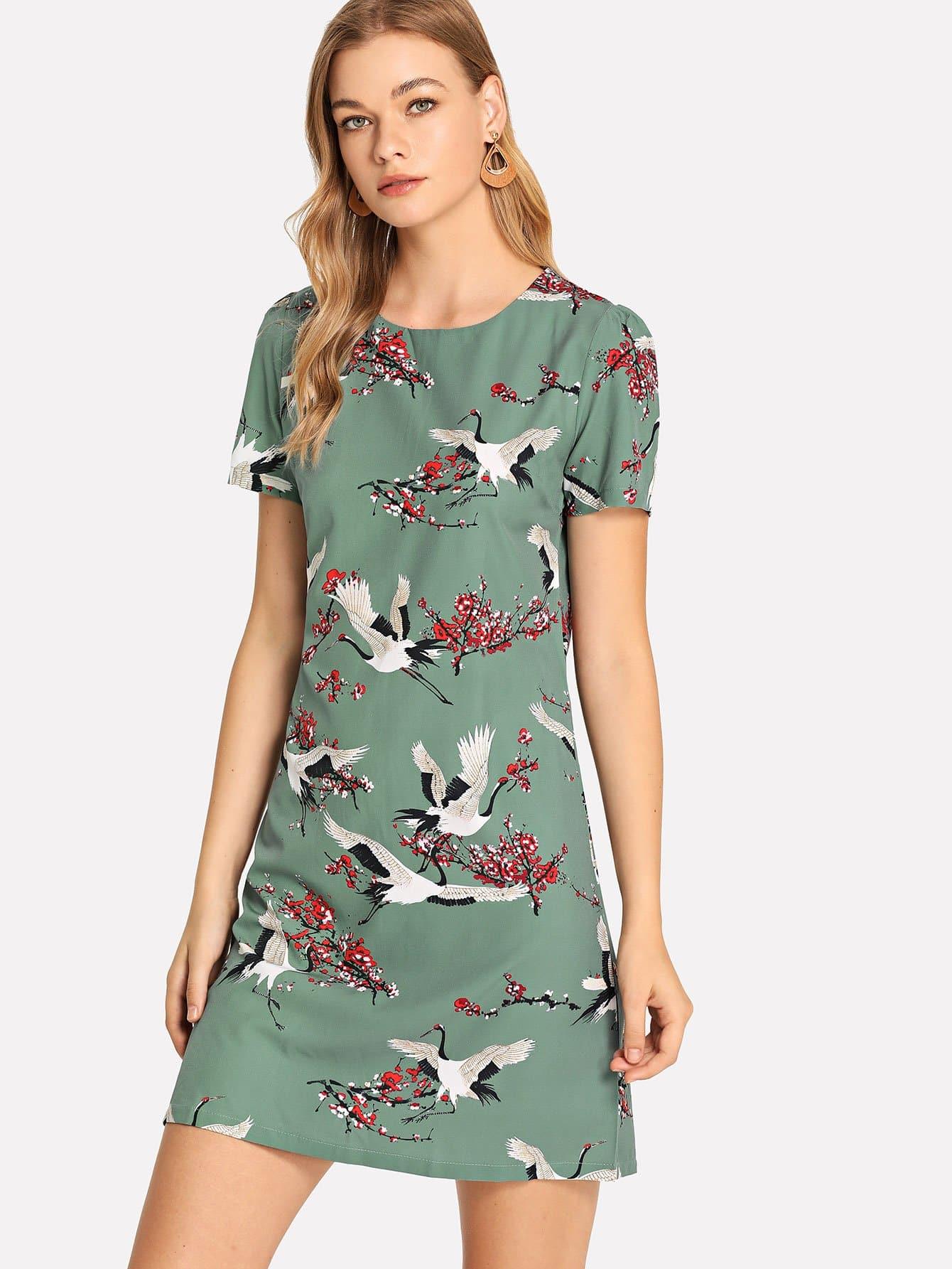 Купить Платье с рисунком крана и рукава с розеткой, Teresa, SheIn