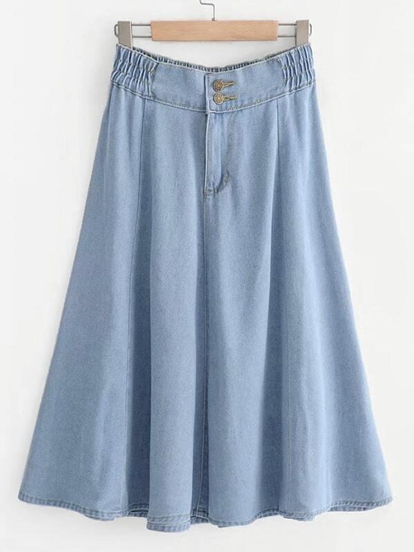 Solid Denim Skirt