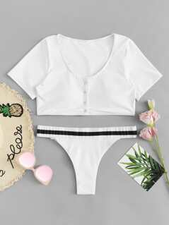 Button Two Piece Swimwear