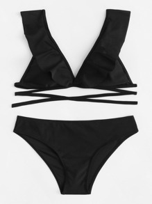 Plain Ruffle Bikini Set
