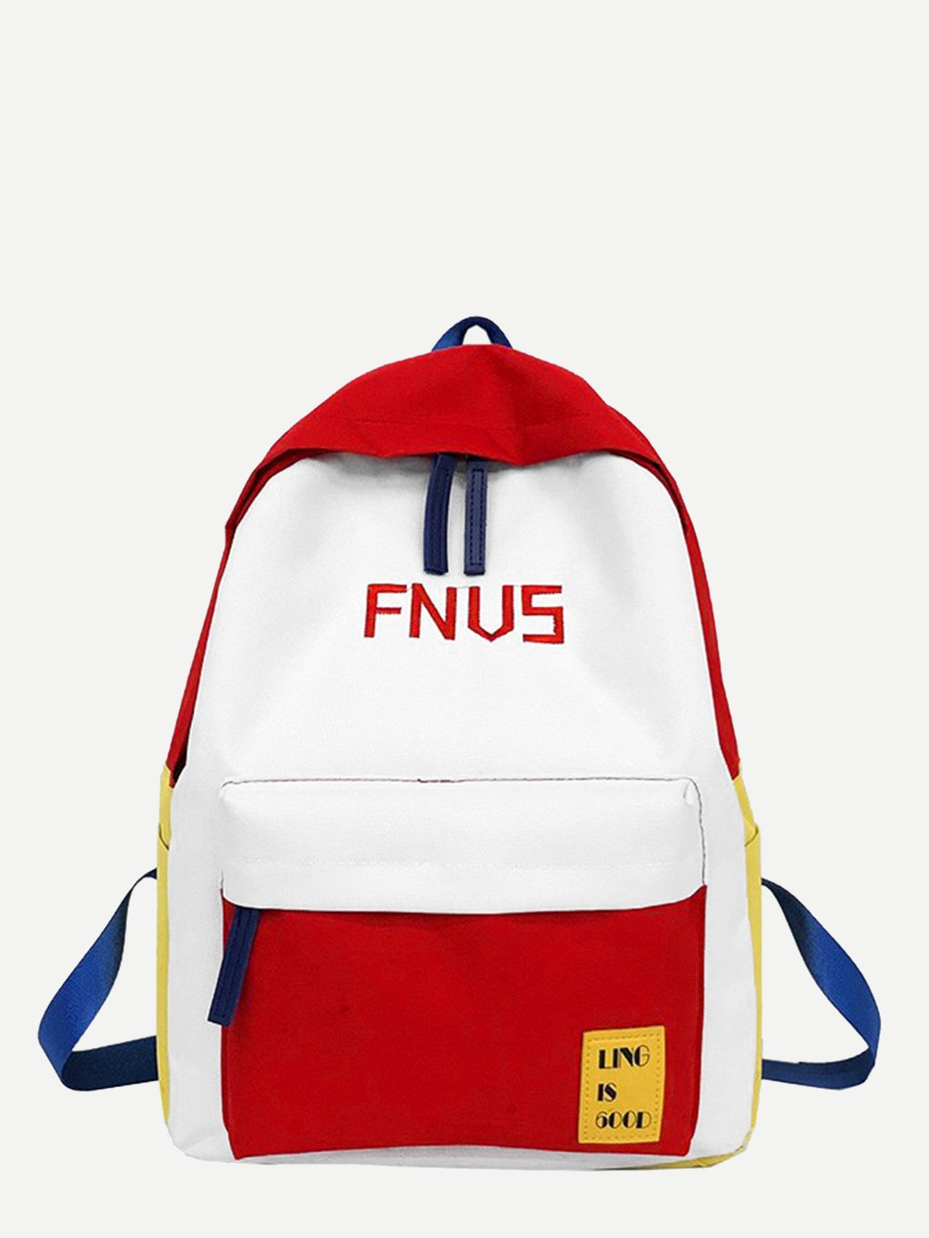 Pocket Front Letter Embroidered Backpack