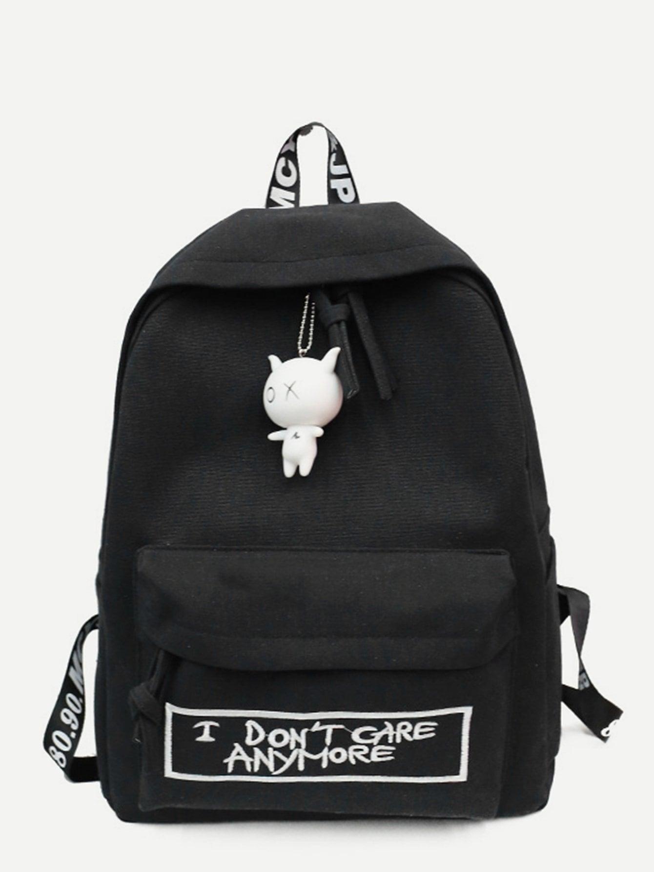 Slogan Embroidered Backpack With Cartoon Charm cartoon charm hair clip 6pcs