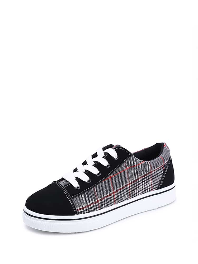 Suede Panel Lace Up Sneakers