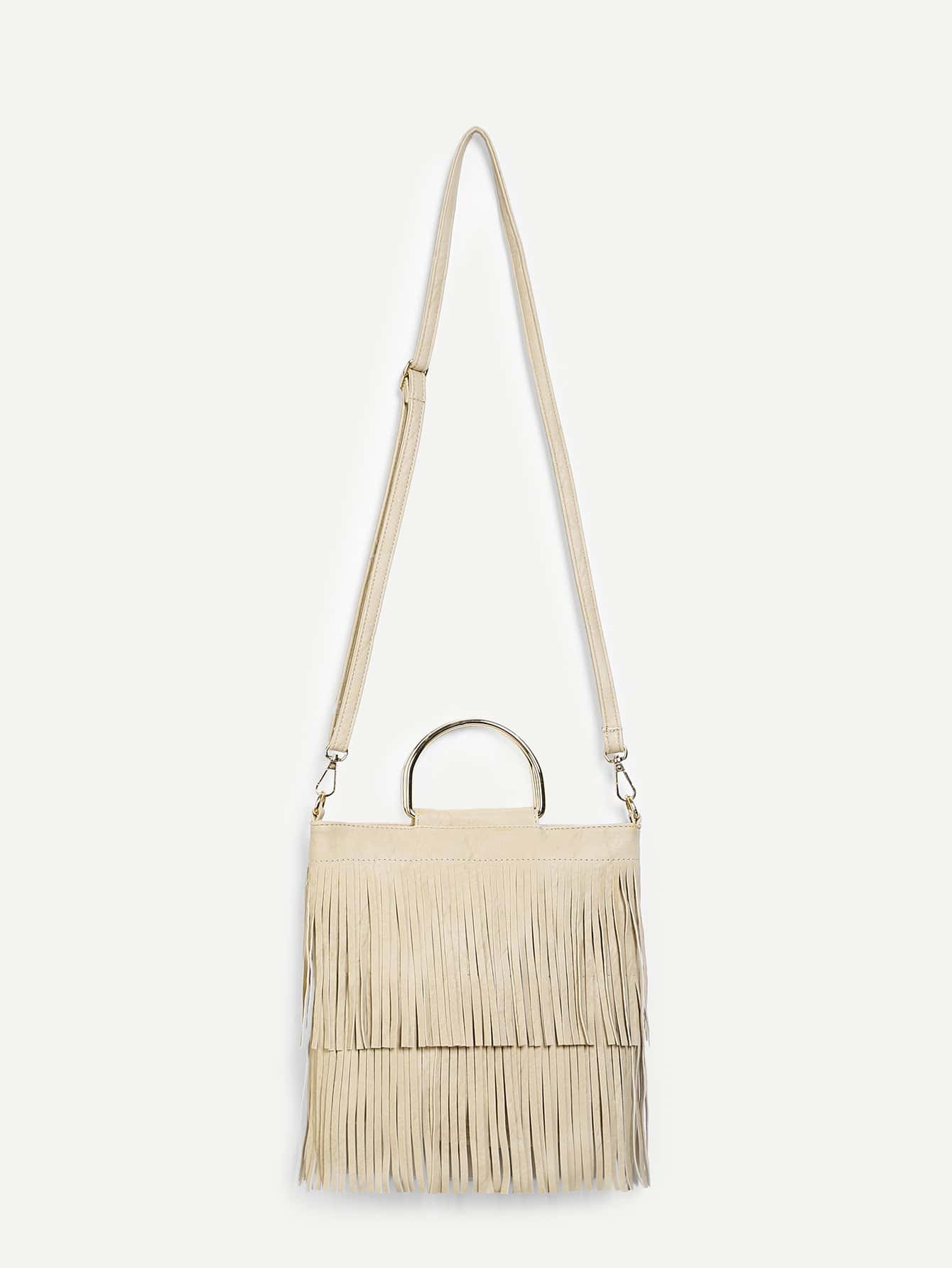 Layered Fringe D-Ring Handle Bag