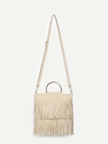 Layered Fringe D-Ring Handle Bag