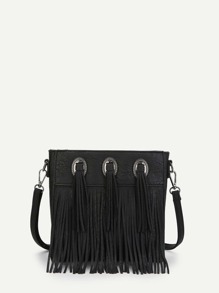 Metal Decorated Fringe Crossbody Bag