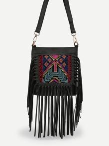 Embroidery Fringe Crossbody Bag