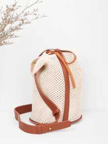 Drawstring Straw Bucket Bag
