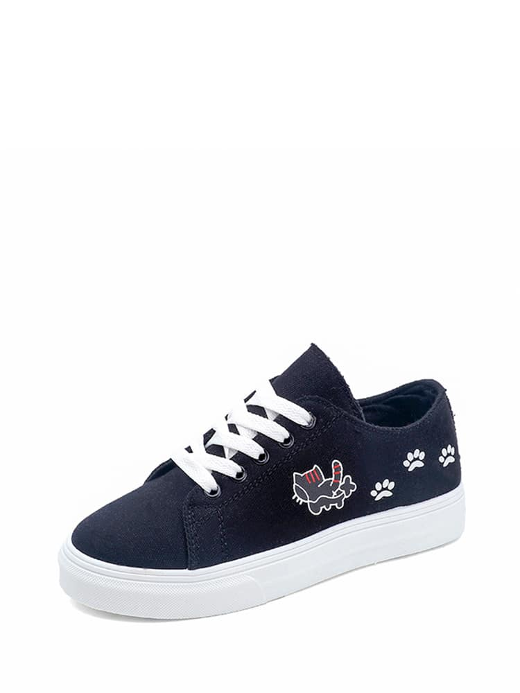 Cat Print Lace Up Sneakers