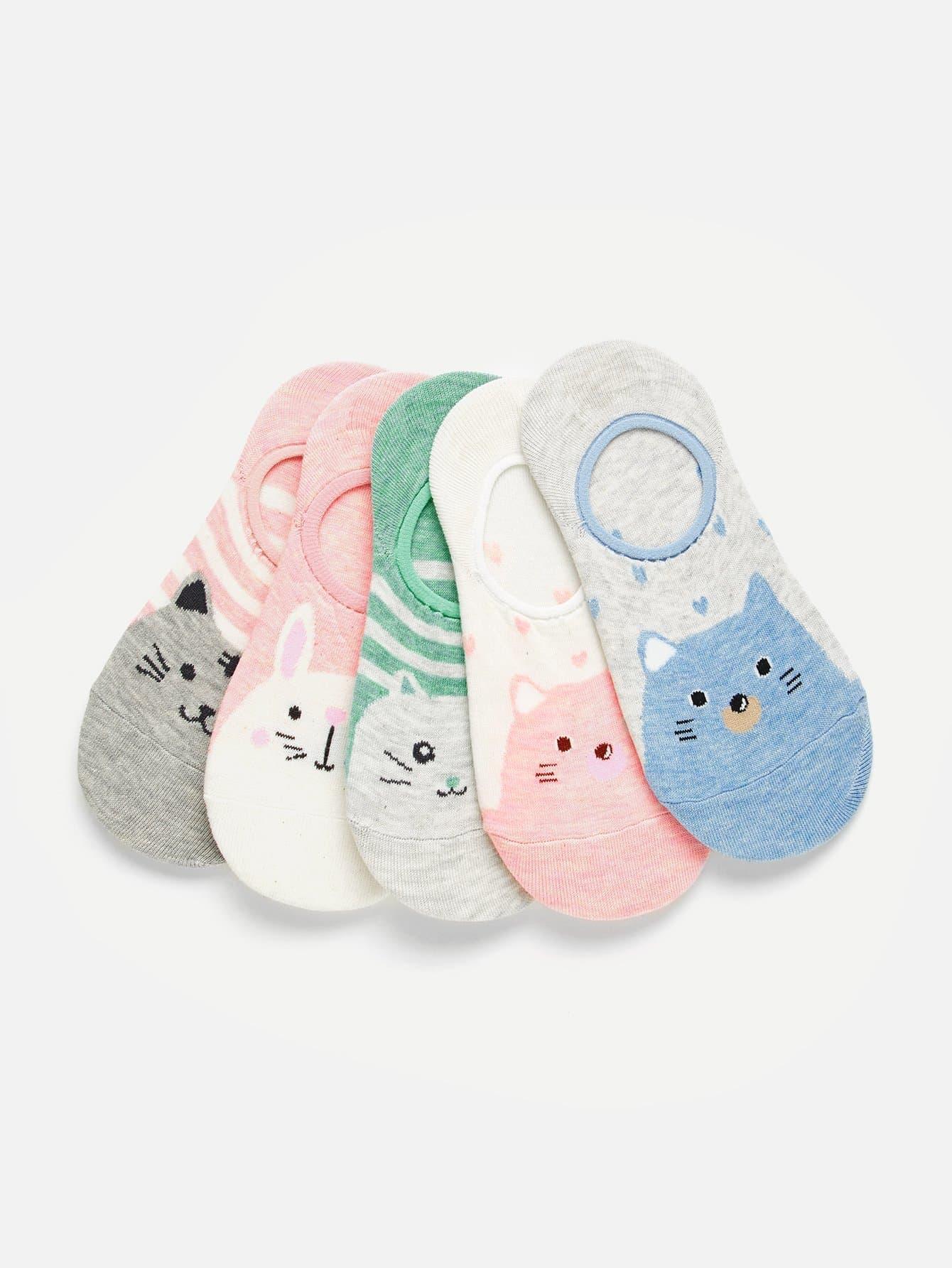 Unsichtbare Socken 5 Paare mit Tier Muster