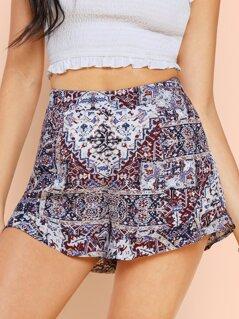 Pattern Print Ruffle Shorts