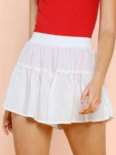 Elastic Waist Flounce Shorts