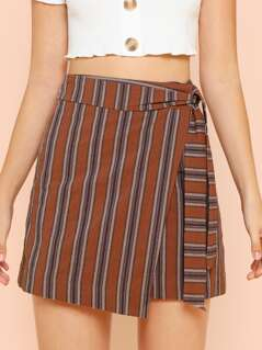 Wrap Striped Skirt