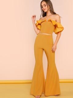 Ruffle Crop Top and Flared Dress Pants Set