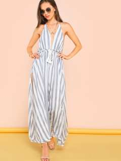 Striped Tie Front Jumpsuit With Shorts