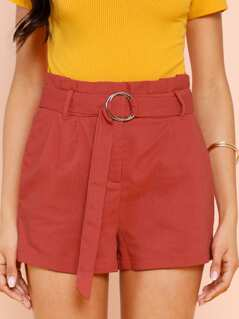 Frill Waist Shorts With O-Ring Belt