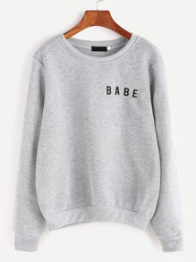 Light Grey Letter Print Sweatshirt