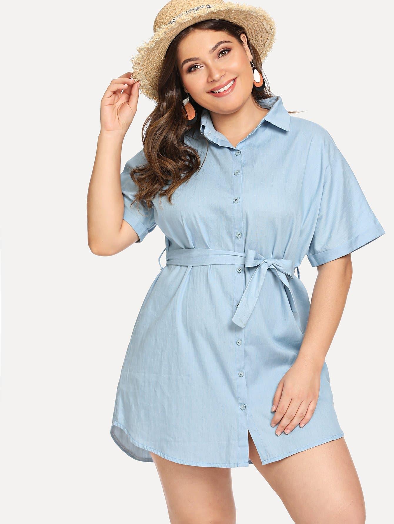 Джинсовая длинная рубашка и с большим поясом