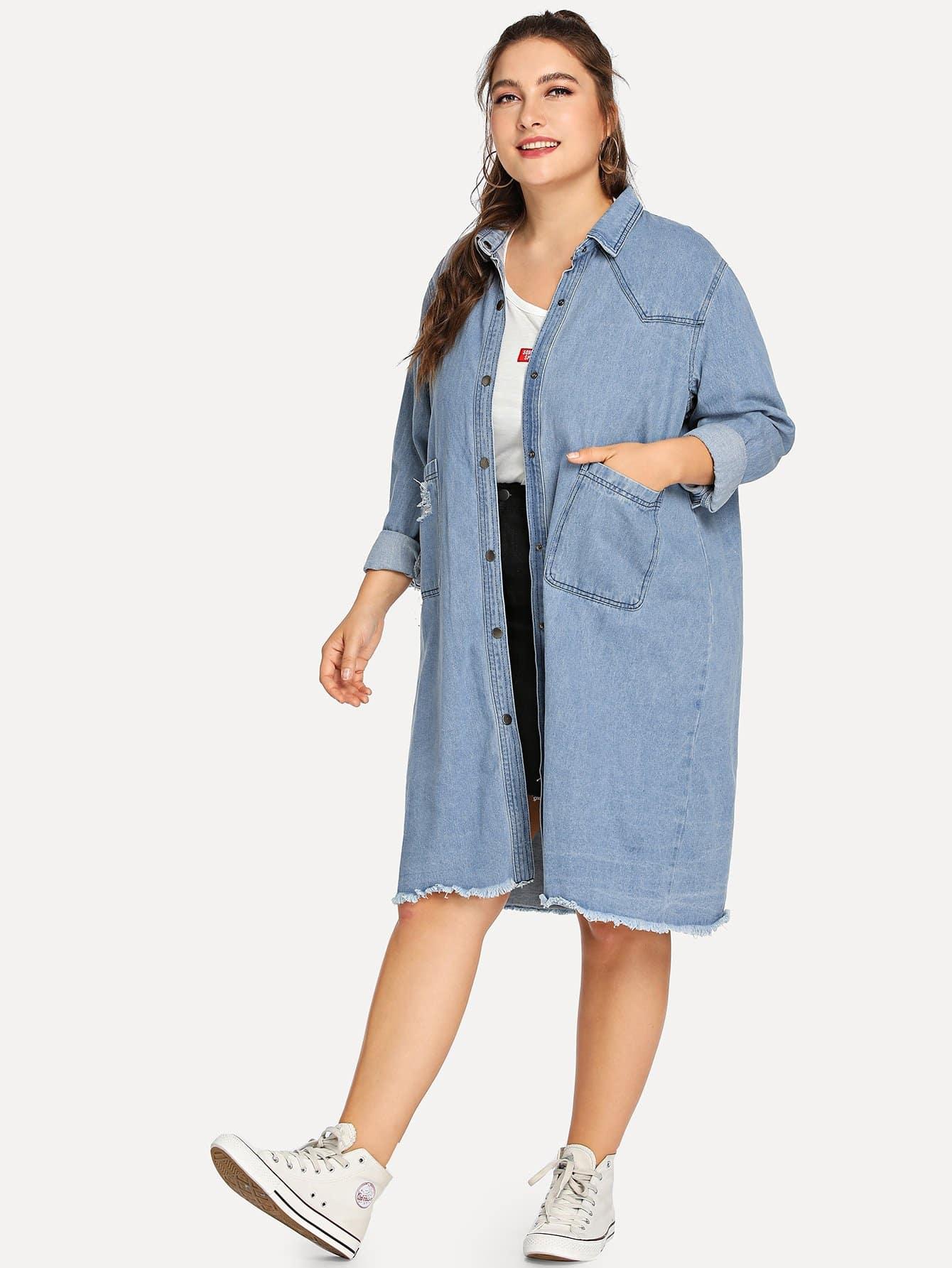 Купить Джинсовая длинная куртка и с украшением двух кармана и рольный подол, Franziska, SheIn