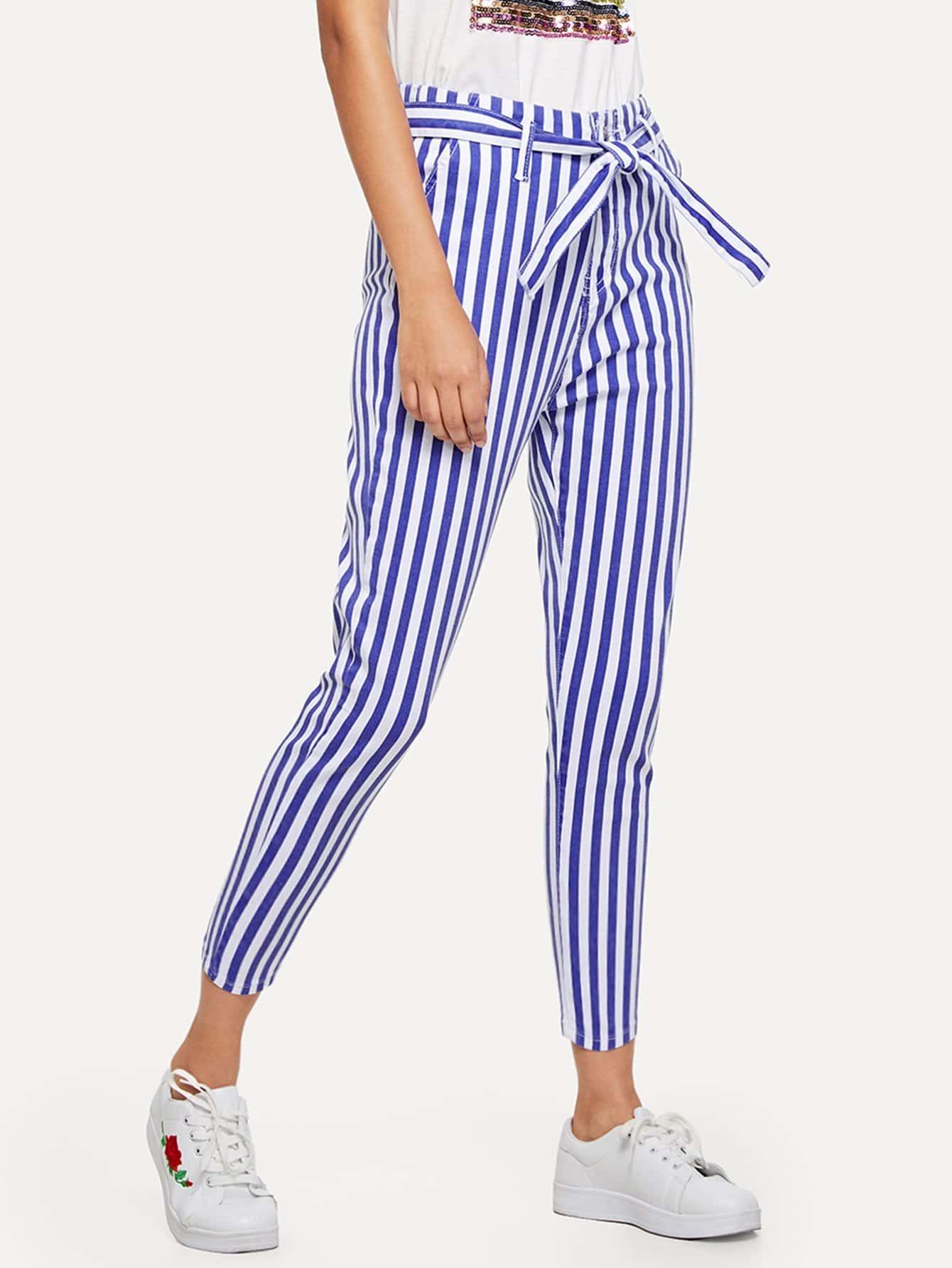 Tie Waist Stripe Ankle Jeans tie waist seam front jeans