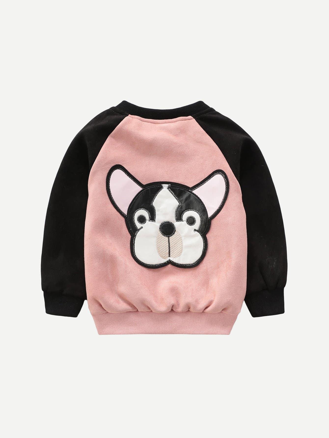 Купить Куртка с украшением собаки вышивки для девочки, null, SheIn