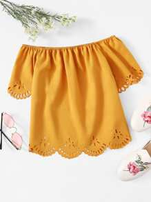Off Shoulder Hollow Out Solid Blouse