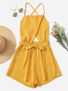 Solid Tie Waist Cross Back Cami Romper