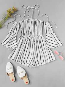 Striped Print Fluted Sleeve Romper