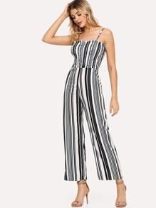 Multi Striped Frill Trim Shirred Cami Jumpsuit