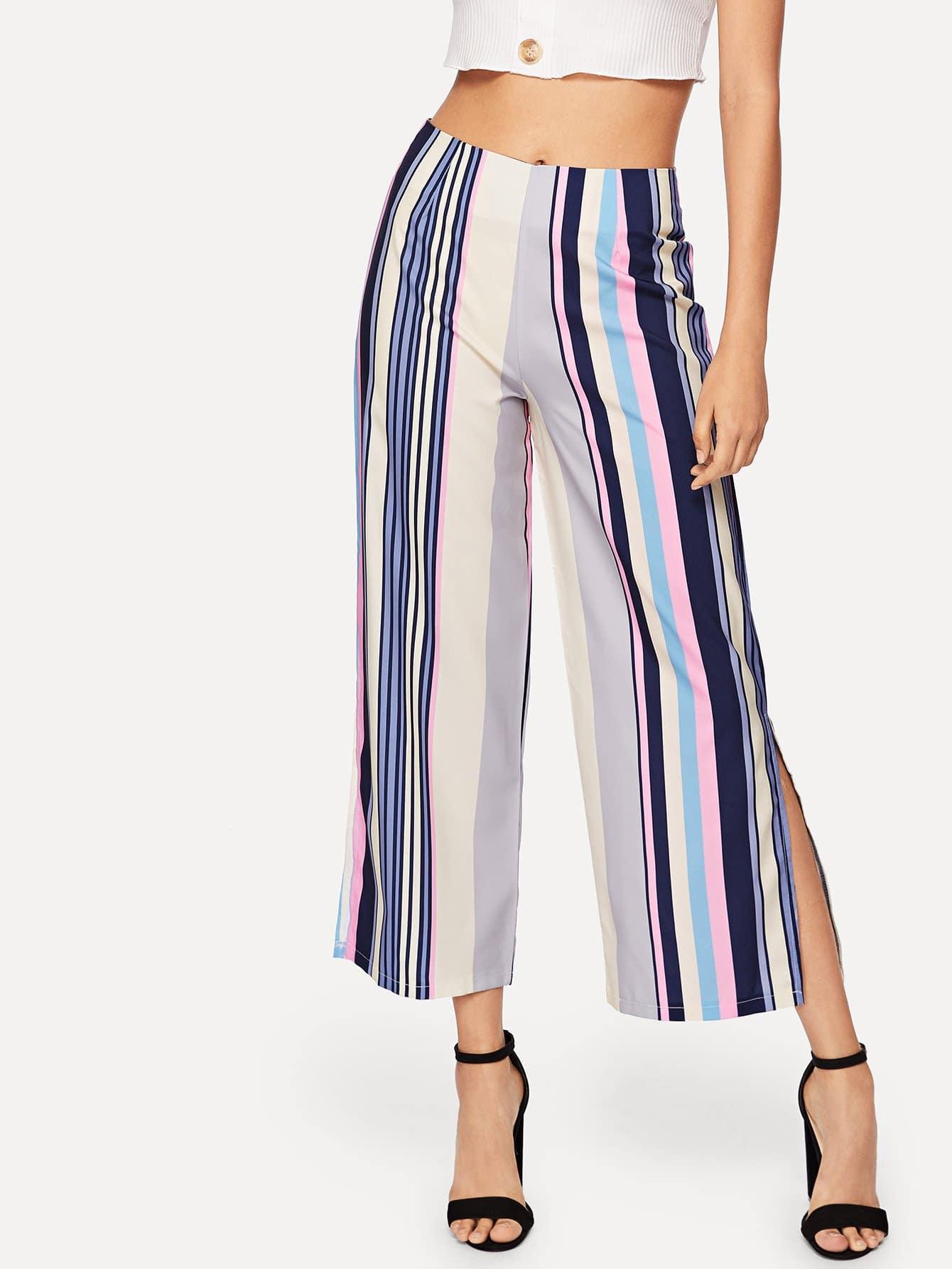 Split Side Striped Wide Leg Pants