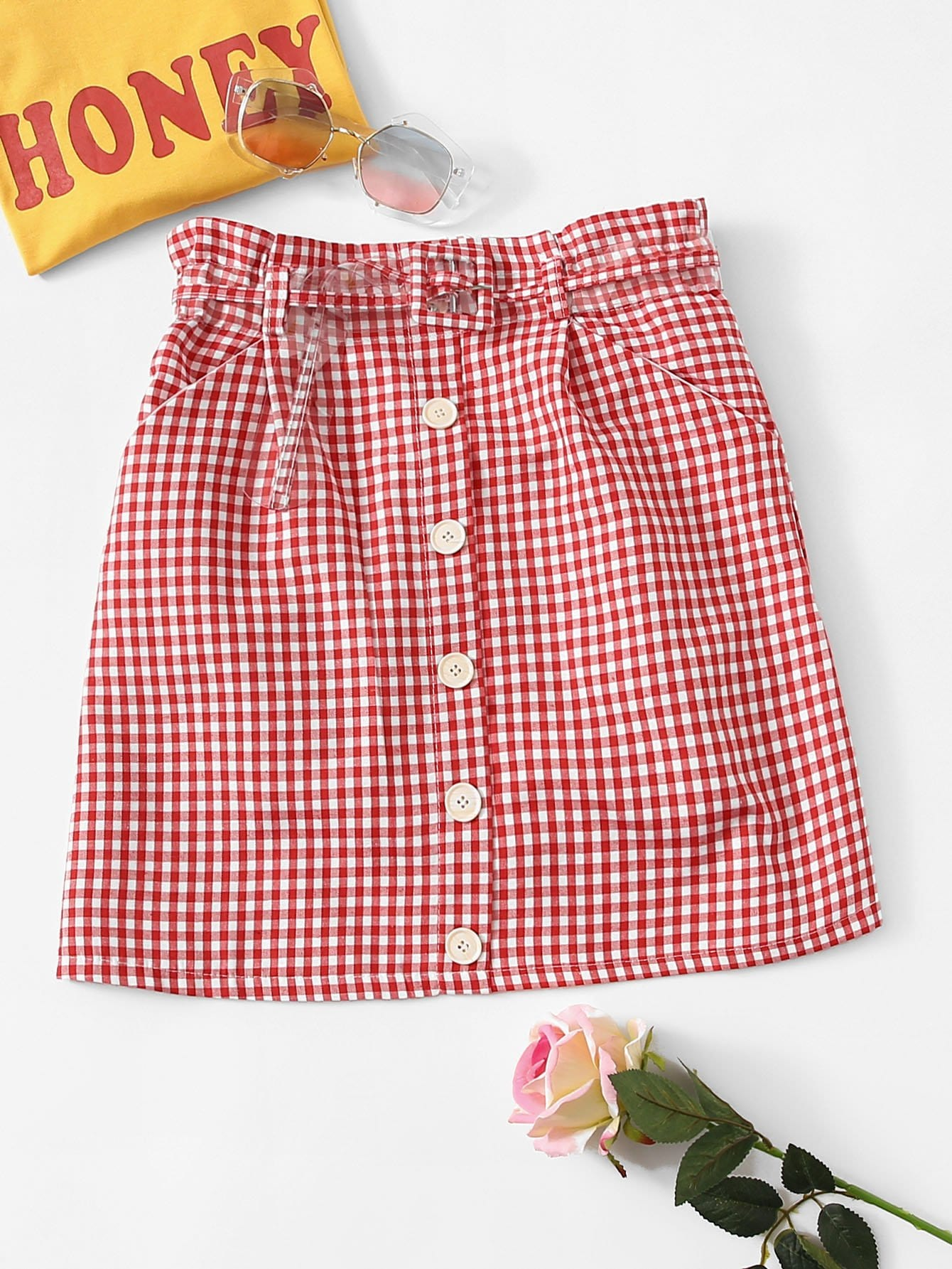 Single Breasted Front Gingham Skirt