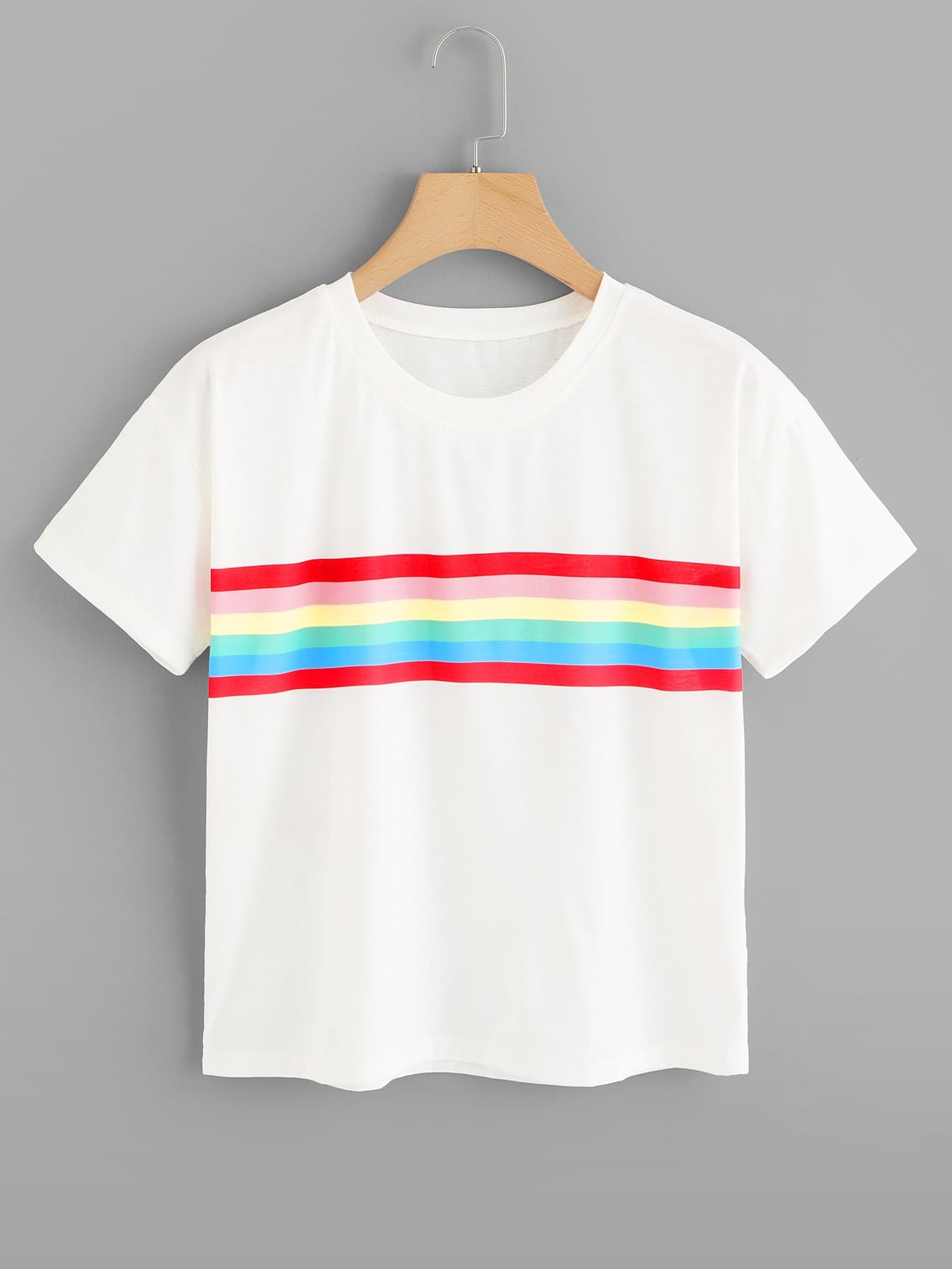 Colorful Striped Panel Tee