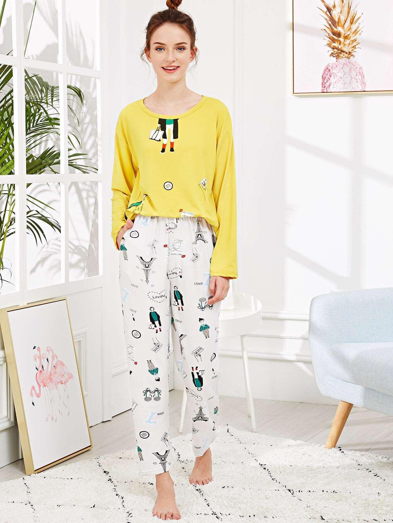 Купить Набор пижамы с рисунками буквы и мультипликаций, Tory, SheIn