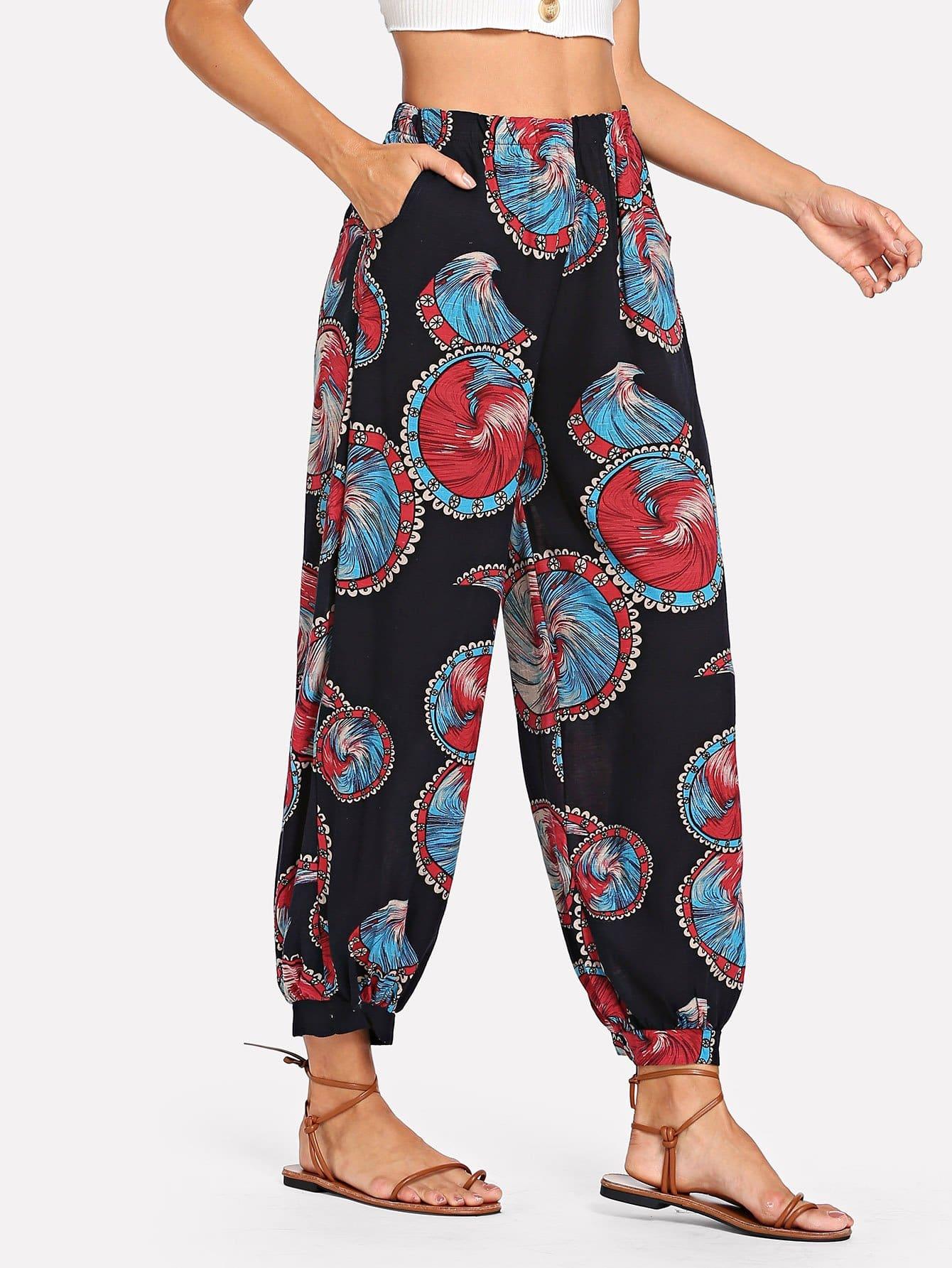 Paisley Print Elastic Waist Pants paisley print pants