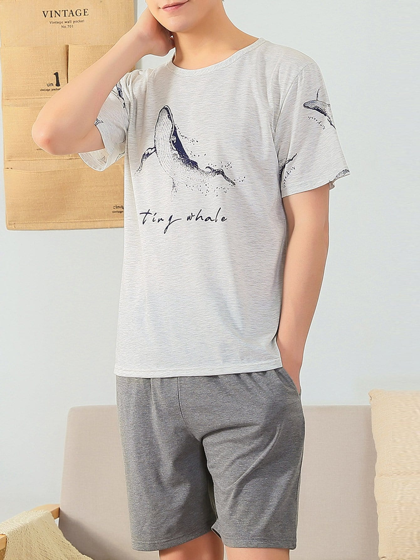 Men Whale Print Pajama Set